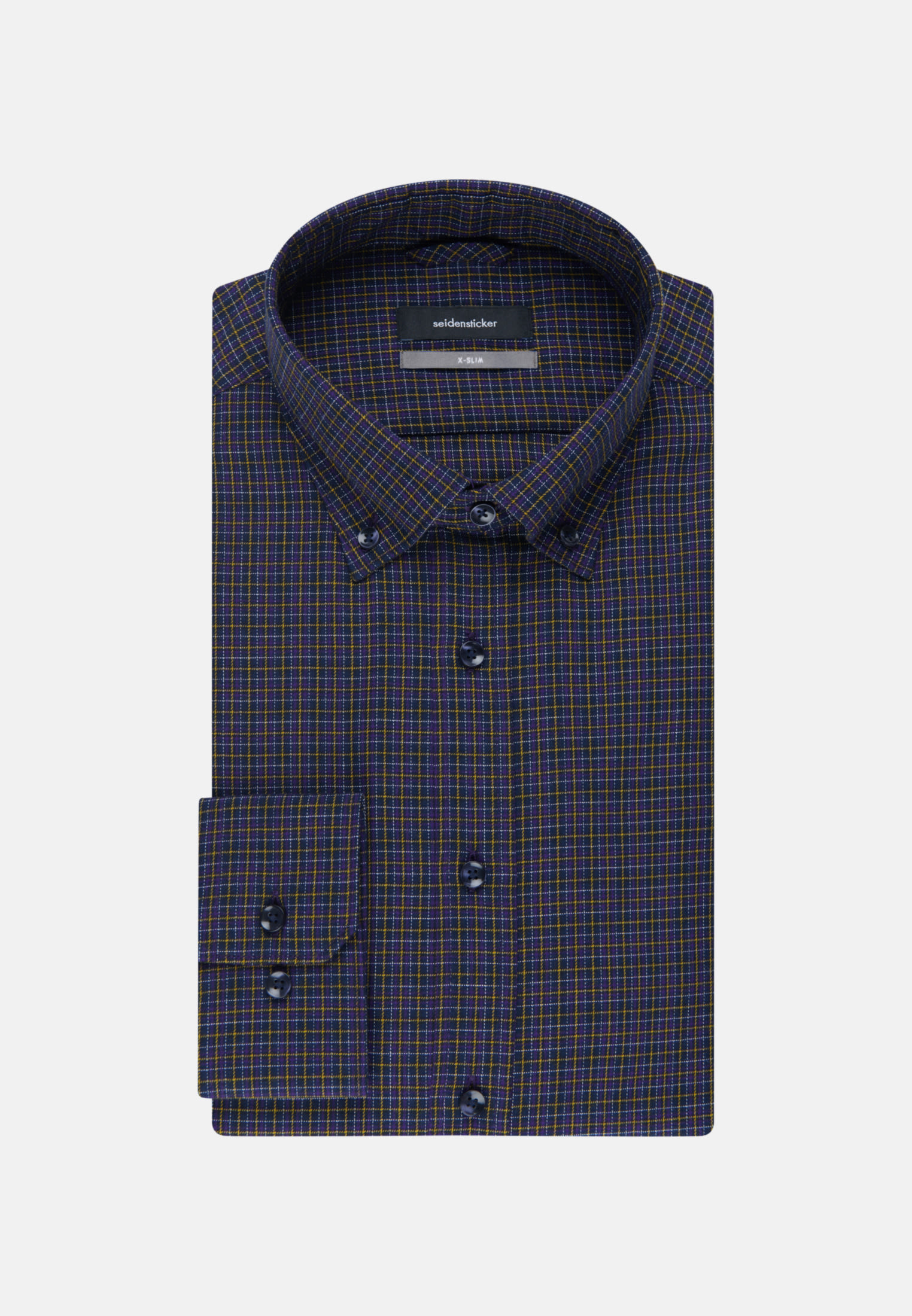 Easy-iron Twill Business Shirt in X-Slim with Button-Down-Collar in Purpla |  Seidensticker Onlineshop
