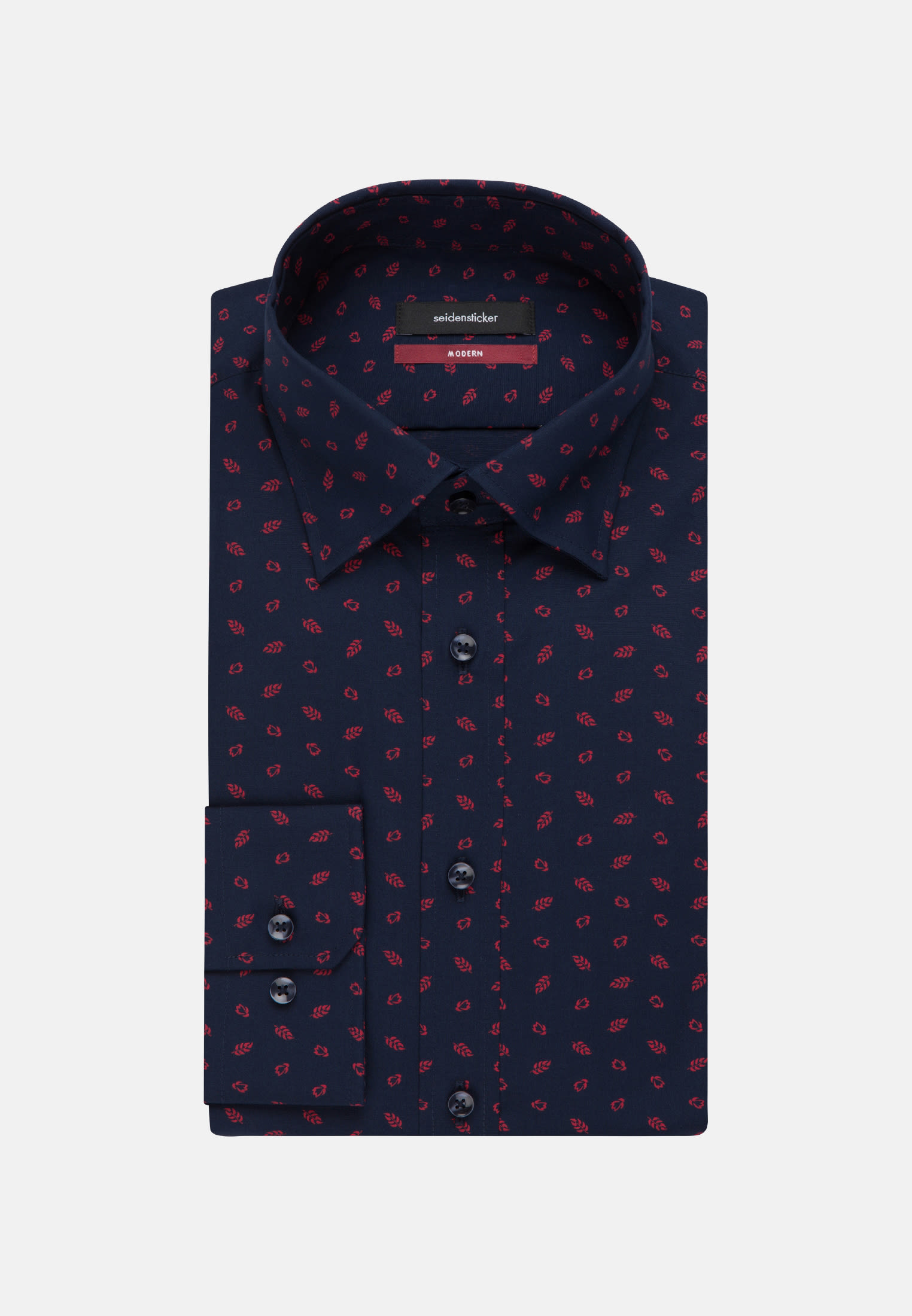 Easy-iron Poplin Business Shirt in Modern with Covered-Button-Down-Collar in rot |  Seidensticker Onlineshop