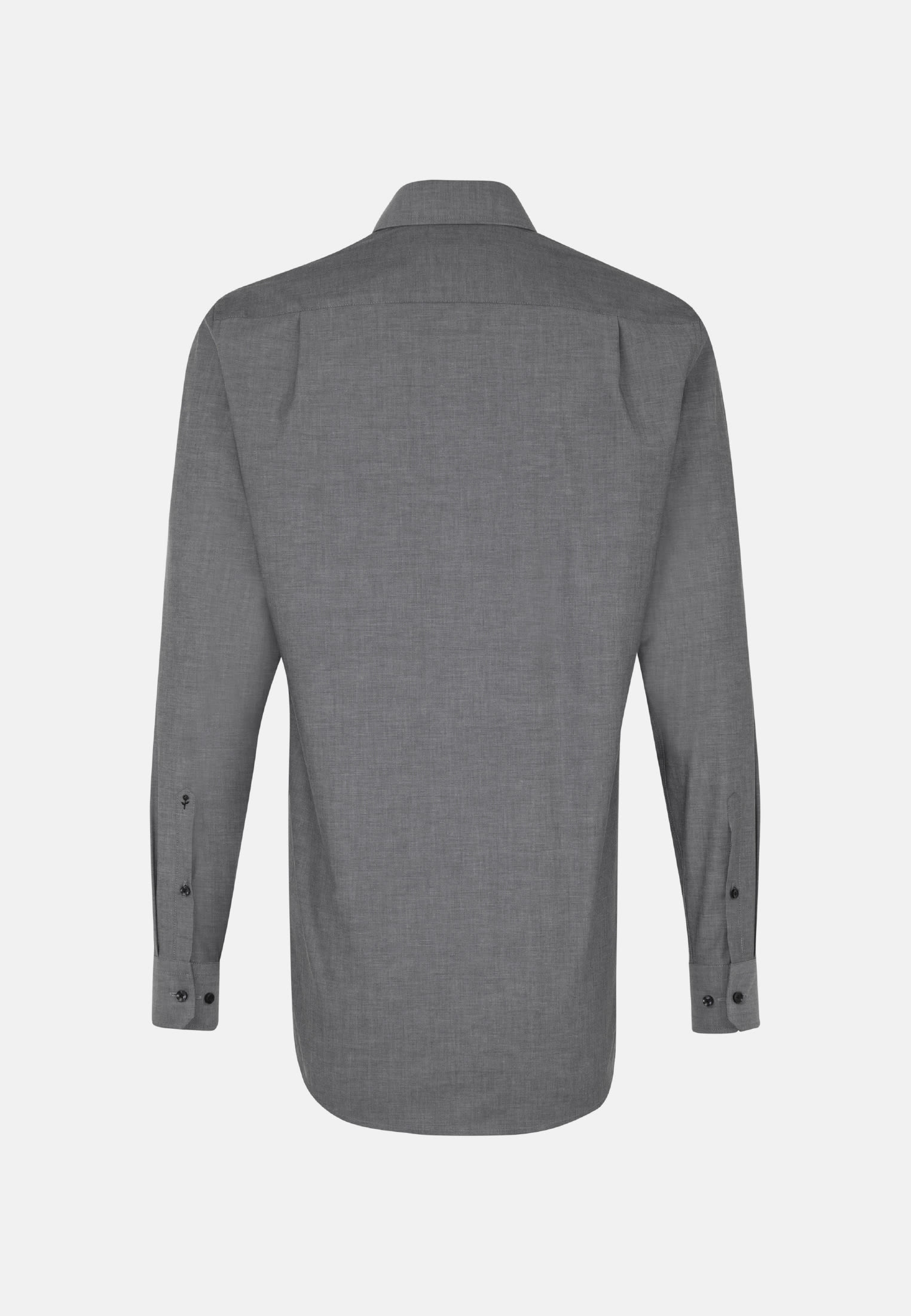 Non-iron Chambray Business Shirt in Comfort with Kent-Collar and extra long sleeve in Grey    Seidensticker Onlineshop