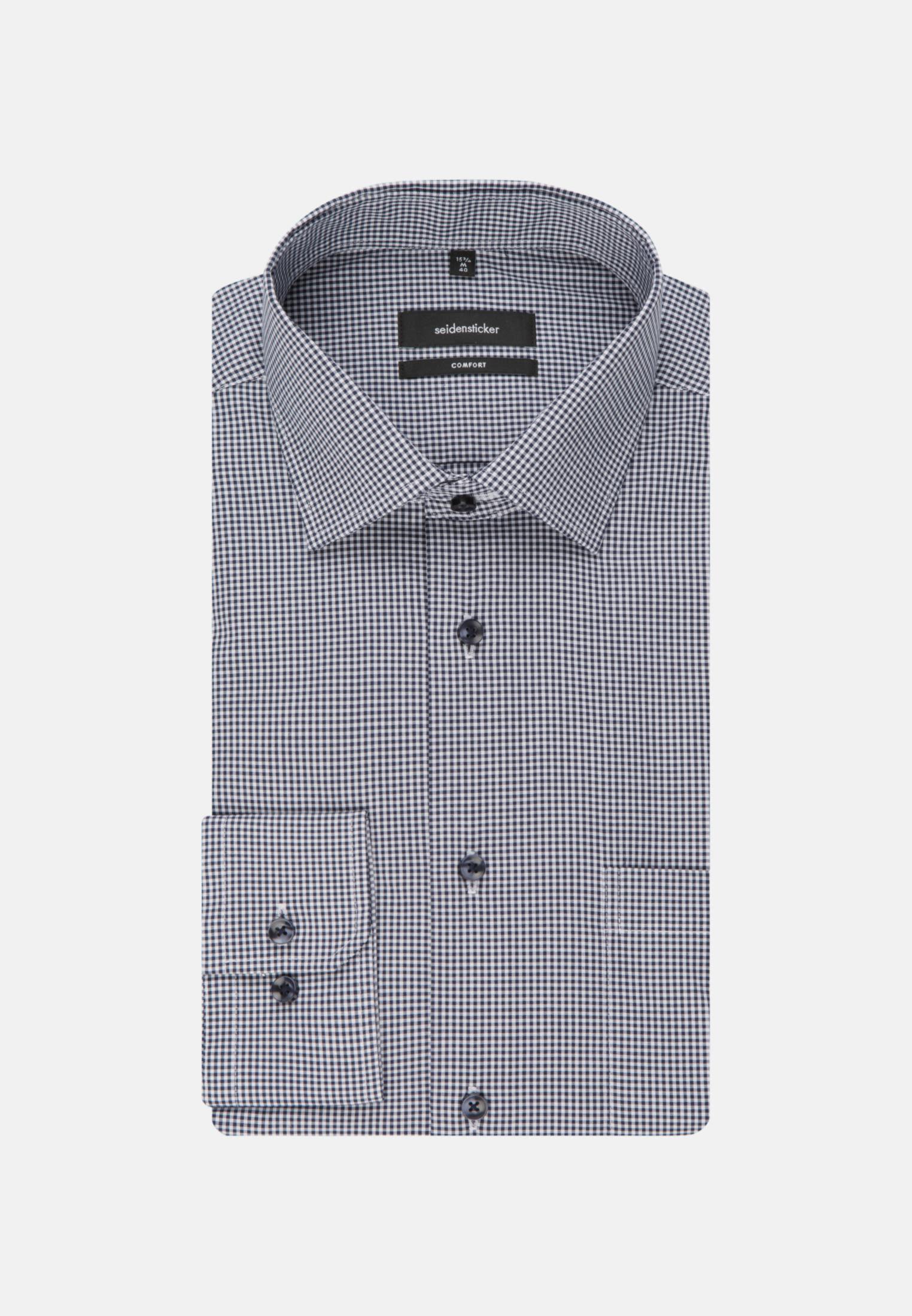 Bügelfreies Popeline Business Hemd in Comfort mit Kentkragen und extra langem Arm in Dunkelblau |  Seidensticker Onlineshop
