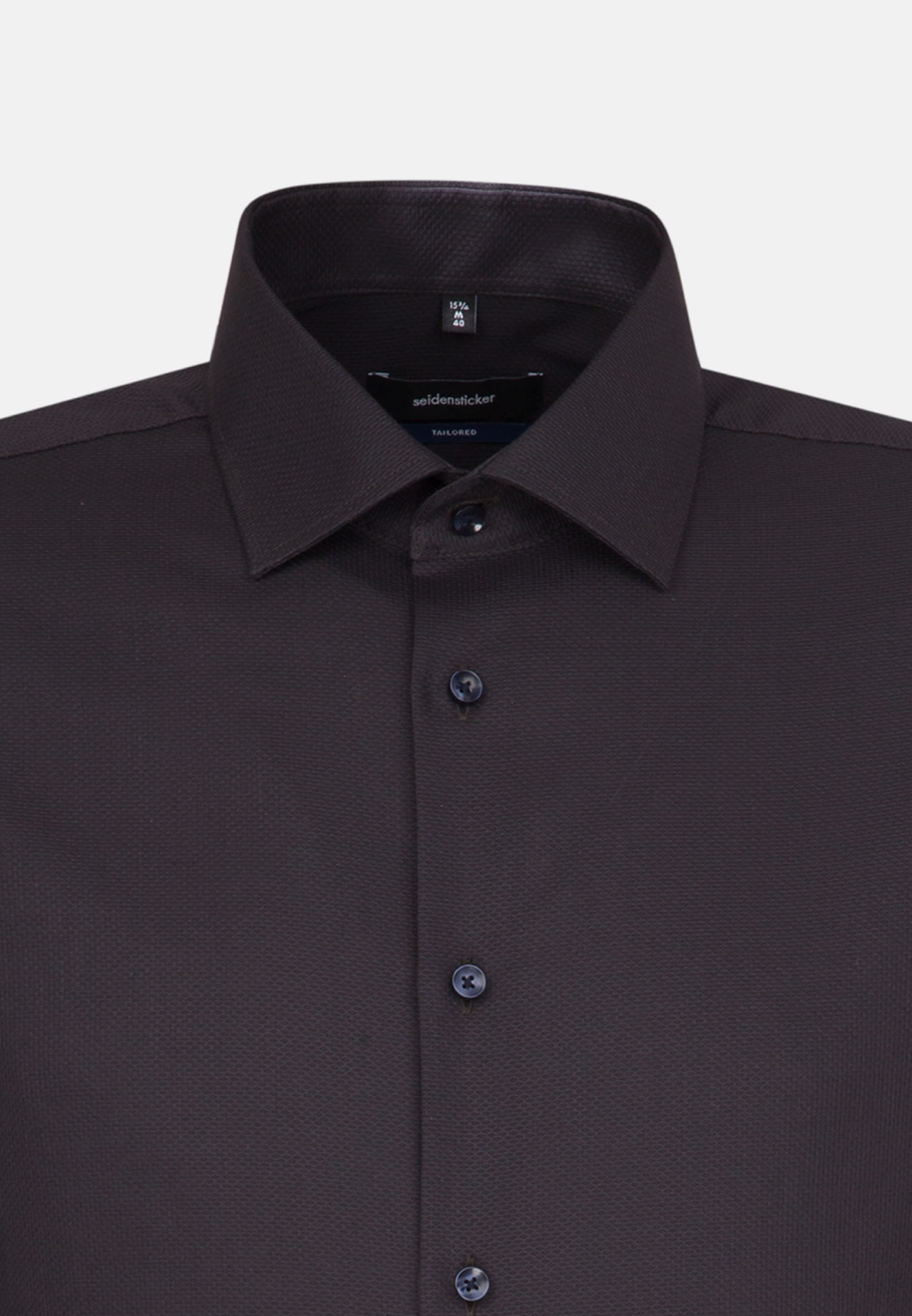 Easy-iron Structure Business Shirt in Shaped with Kent-Collar and extra long arm in Black |  Seidensticker Onlineshop