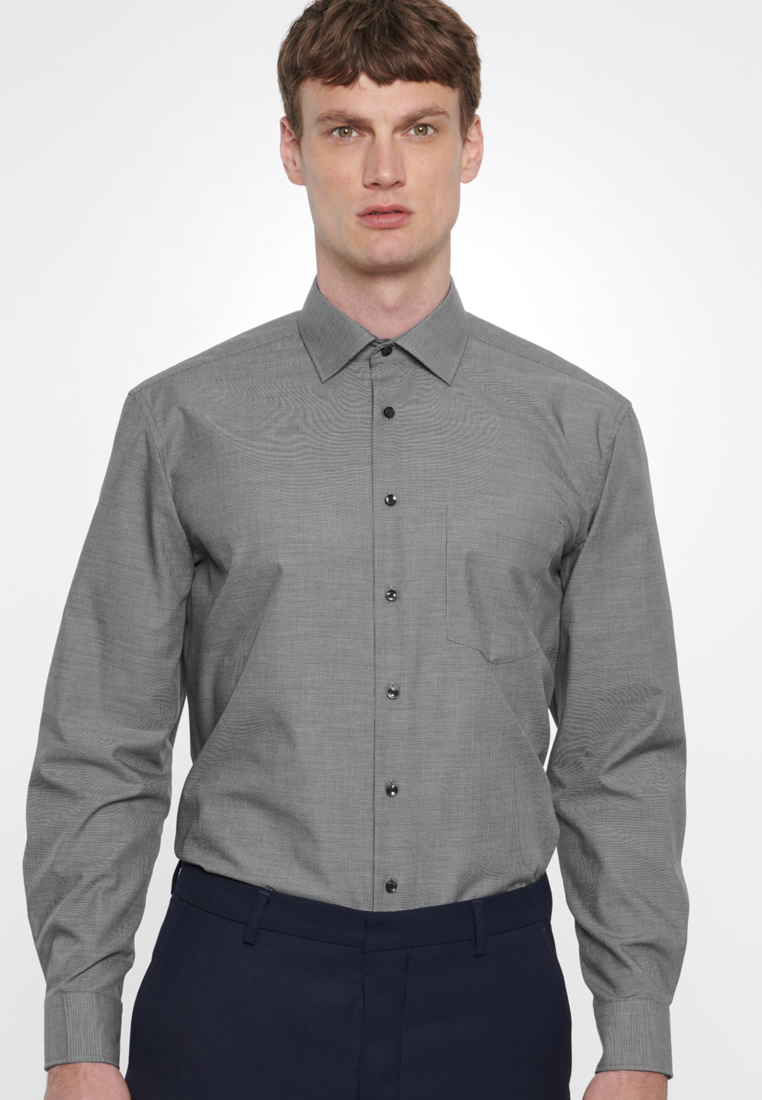 Non-iron Structure Business Shirt in Comfort with Kent-Collar in Dark blue |  Seidensticker Onlineshop