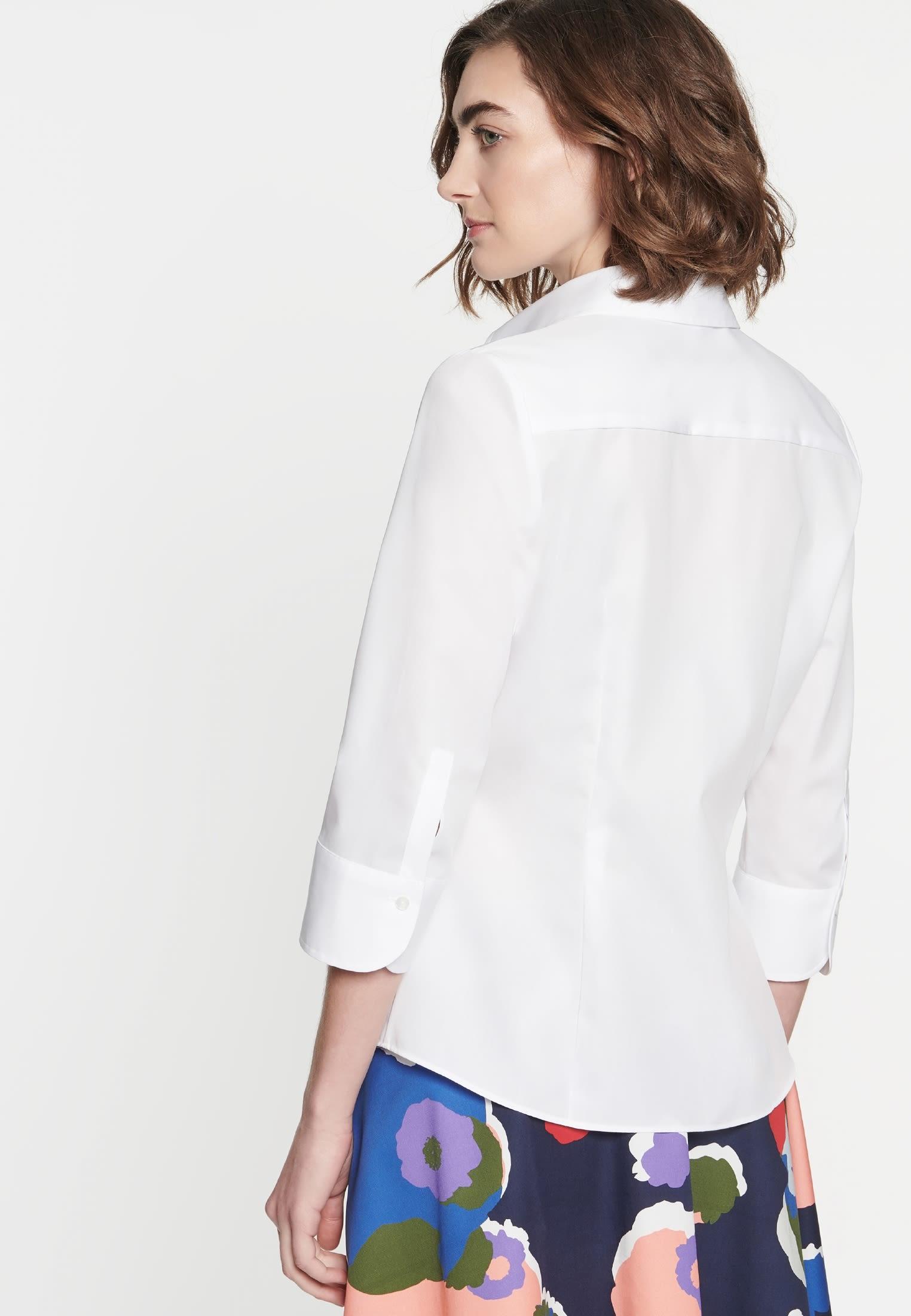 Non-iron 3/4 arm Poplin Shirt Blouse made of 100% Cotton in weiß |  Seidensticker Onlineshop