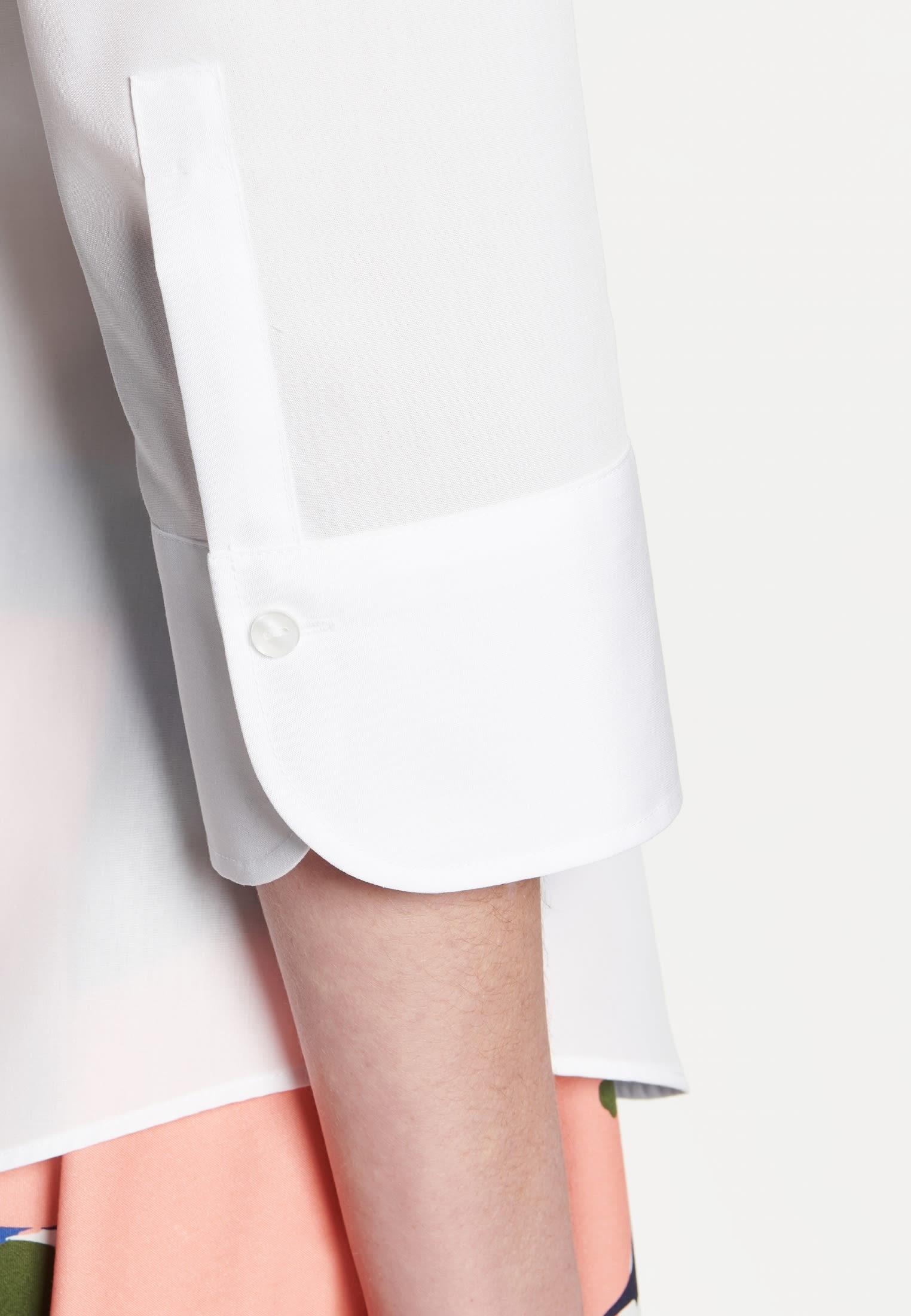 Non-iron 3/4 arm Poplin Shirt Blouse made of 100% Cotton in weiß    Seidensticker Onlineshop