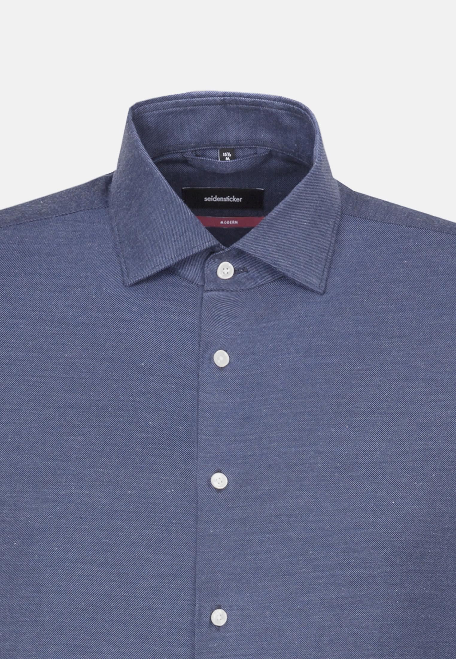 Easy-iron Twill Business Shirt in Modern with Kent-Collar in Medium blue    Seidensticker Onlineshop