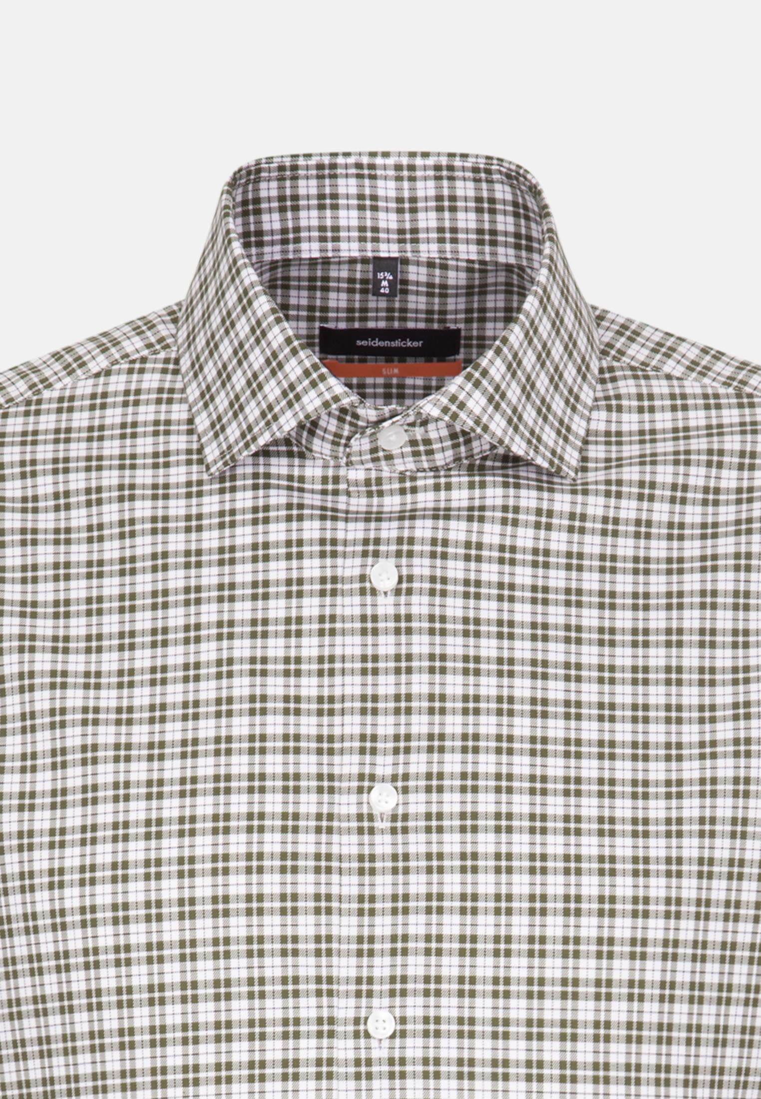 Bügelfreies Twill Business Hemd in Slim mit Kentkragen in Grün    Seidensticker Onlineshop