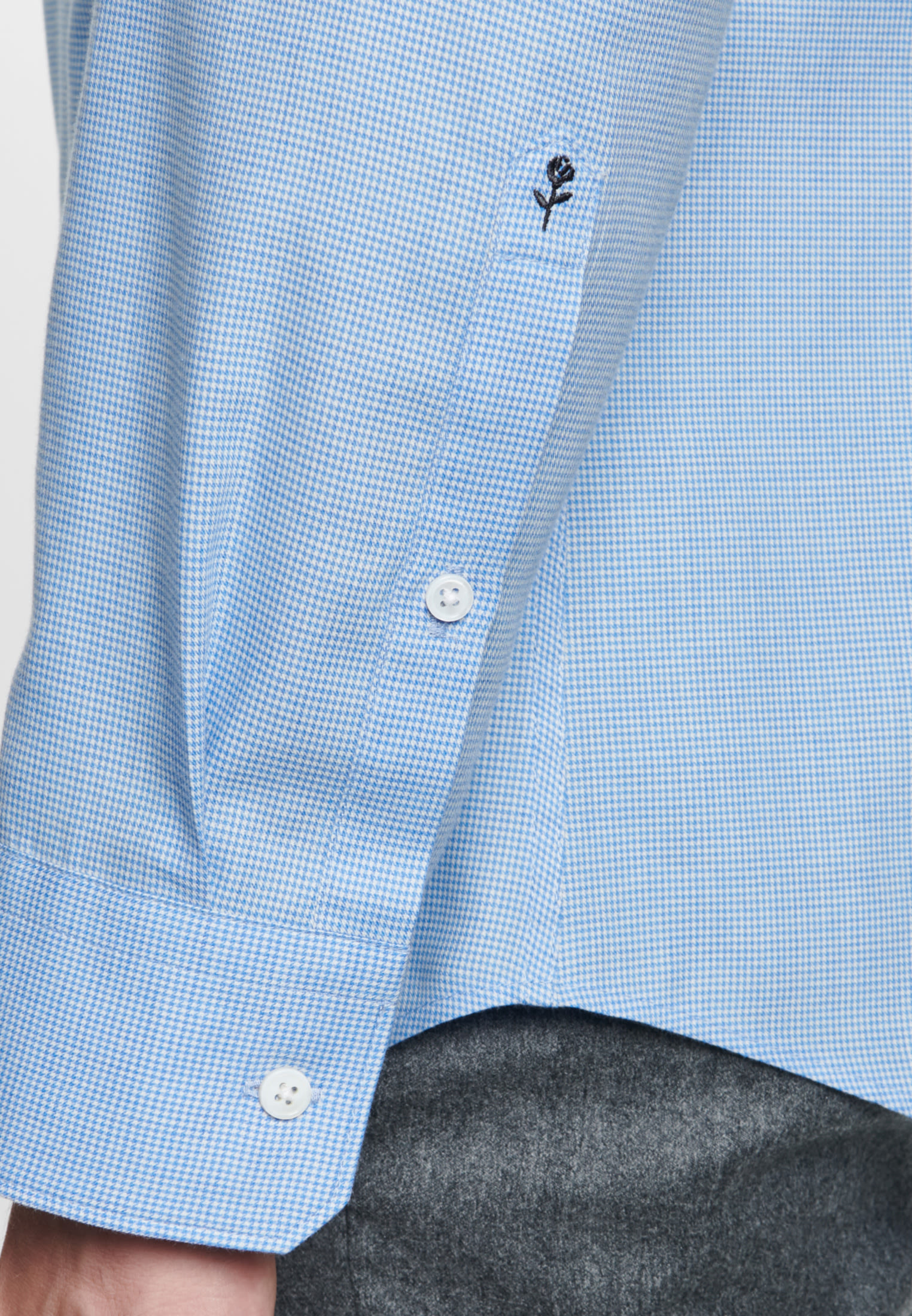Easy-iron Pepita/tooth-peg check Business Shirt in Slim with Kent-Collar in Light blue |  Seidensticker Onlineshop