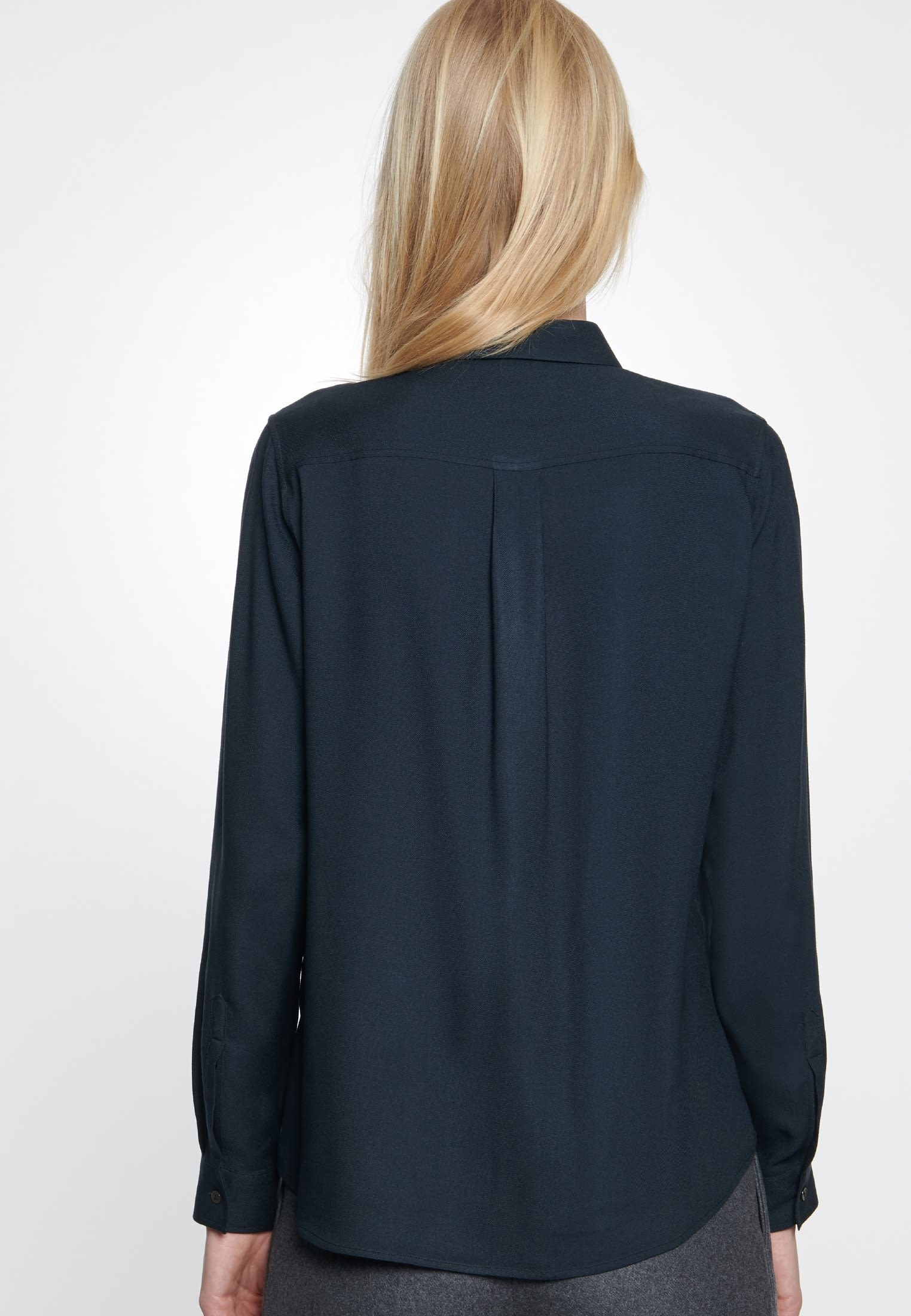 Twill Shirt Blouse made of 100% Viscose in Black |  Seidensticker Onlineshop