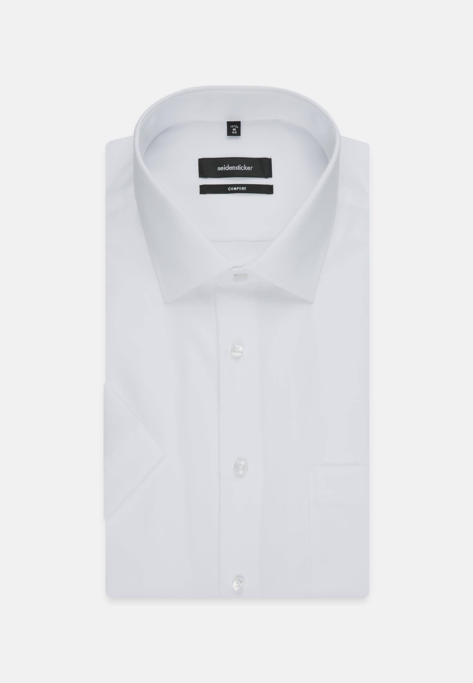 Non-iron Poplin Short arm Business Shirt in Comfort with Kent-Collar in weiß |  Seidensticker Onlineshop
