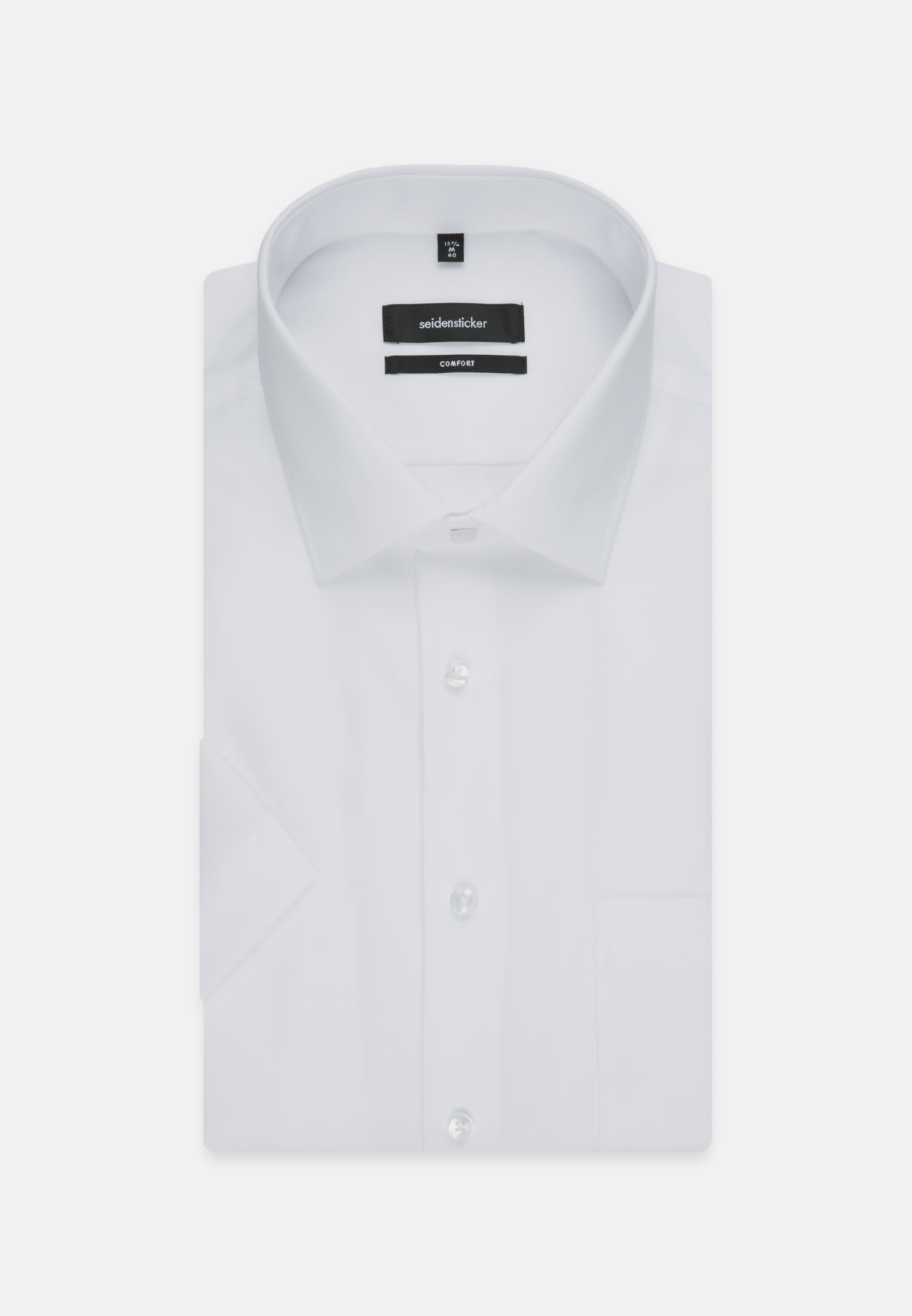 Non-iron Poplin Short sleeve Business Shirt in Comfort with Kent-Collar in White |  Seidensticker Onlineshop