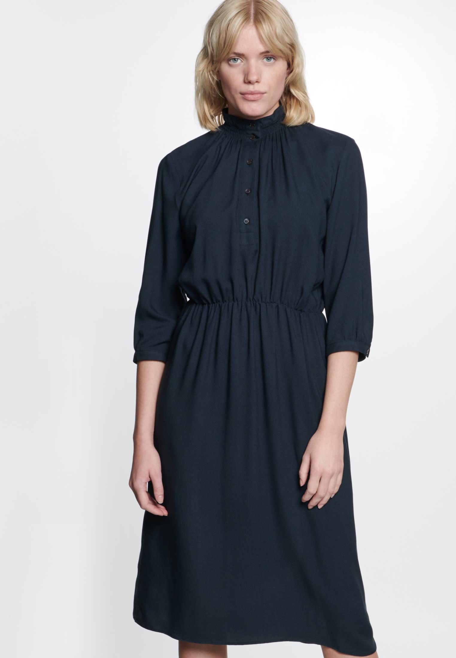 Twill Maxi Kleid aus 100% Viskose in Schwarz |  Seidensticker Onlineshop