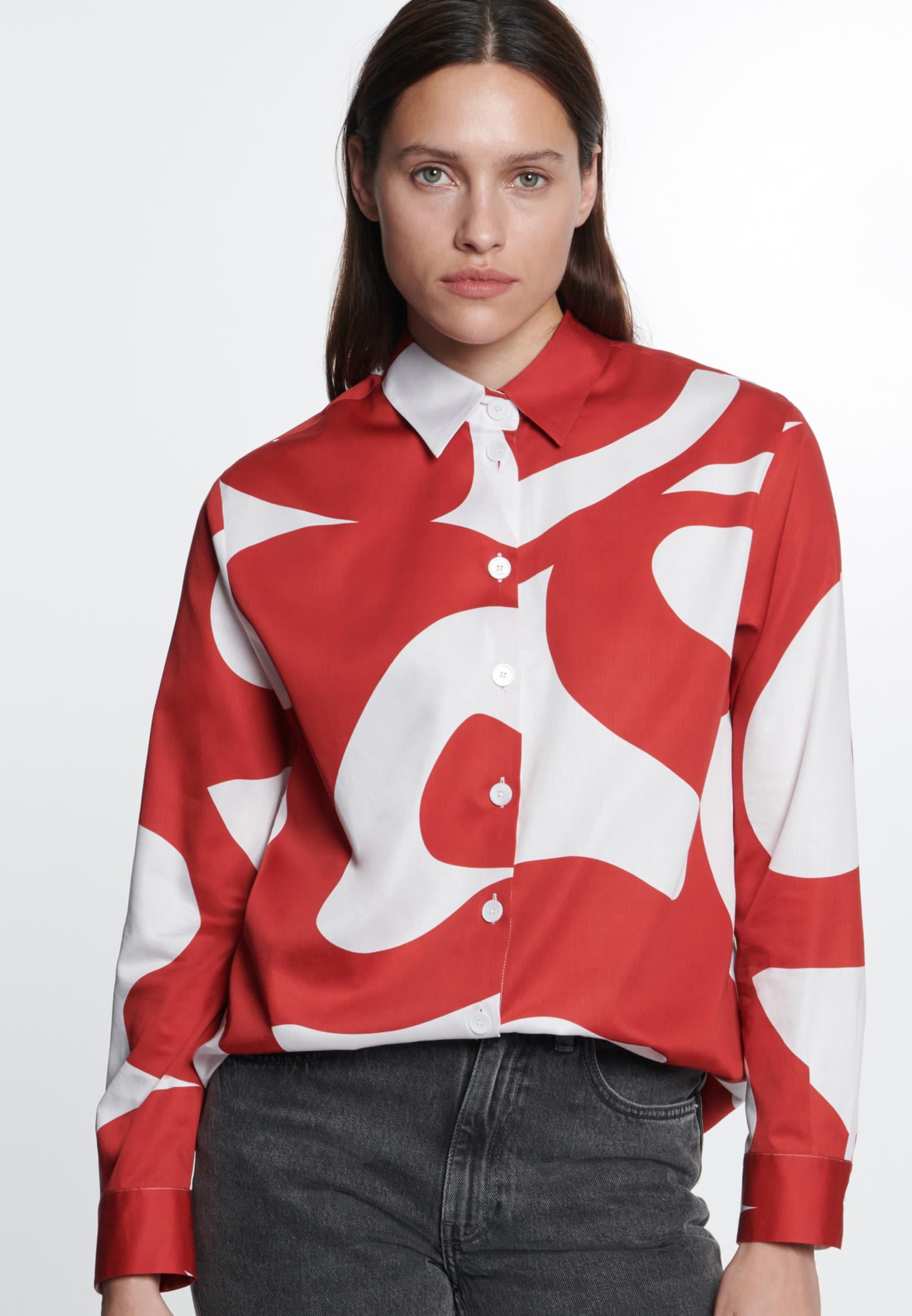 Satin Hemdbluse aus 100% Baumwolle in Rot |  Seidensticker Onlineshop