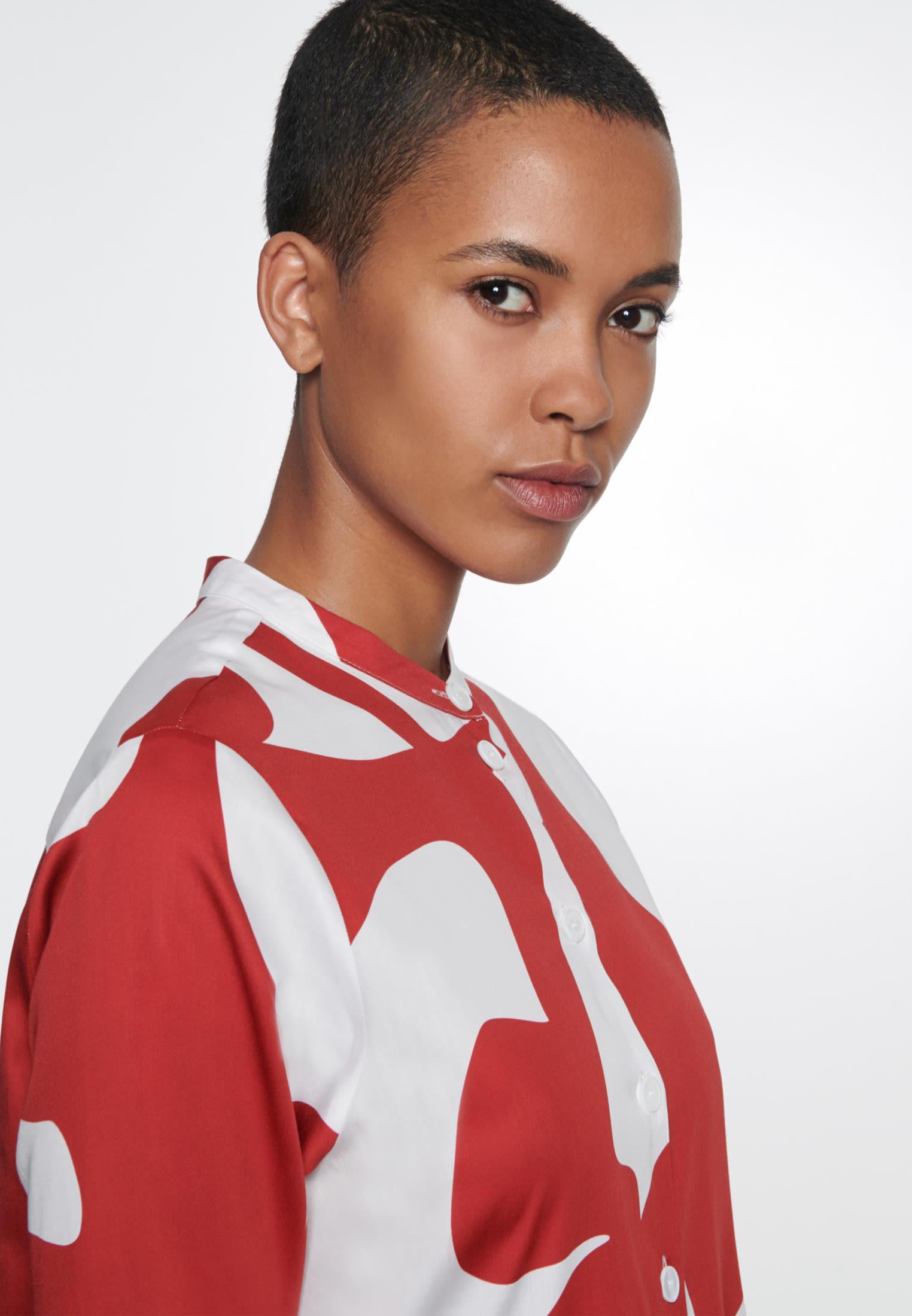 Satin Midi Kleid aus 100% Baumwolle in Rot |  Seidensticker Onlineshop