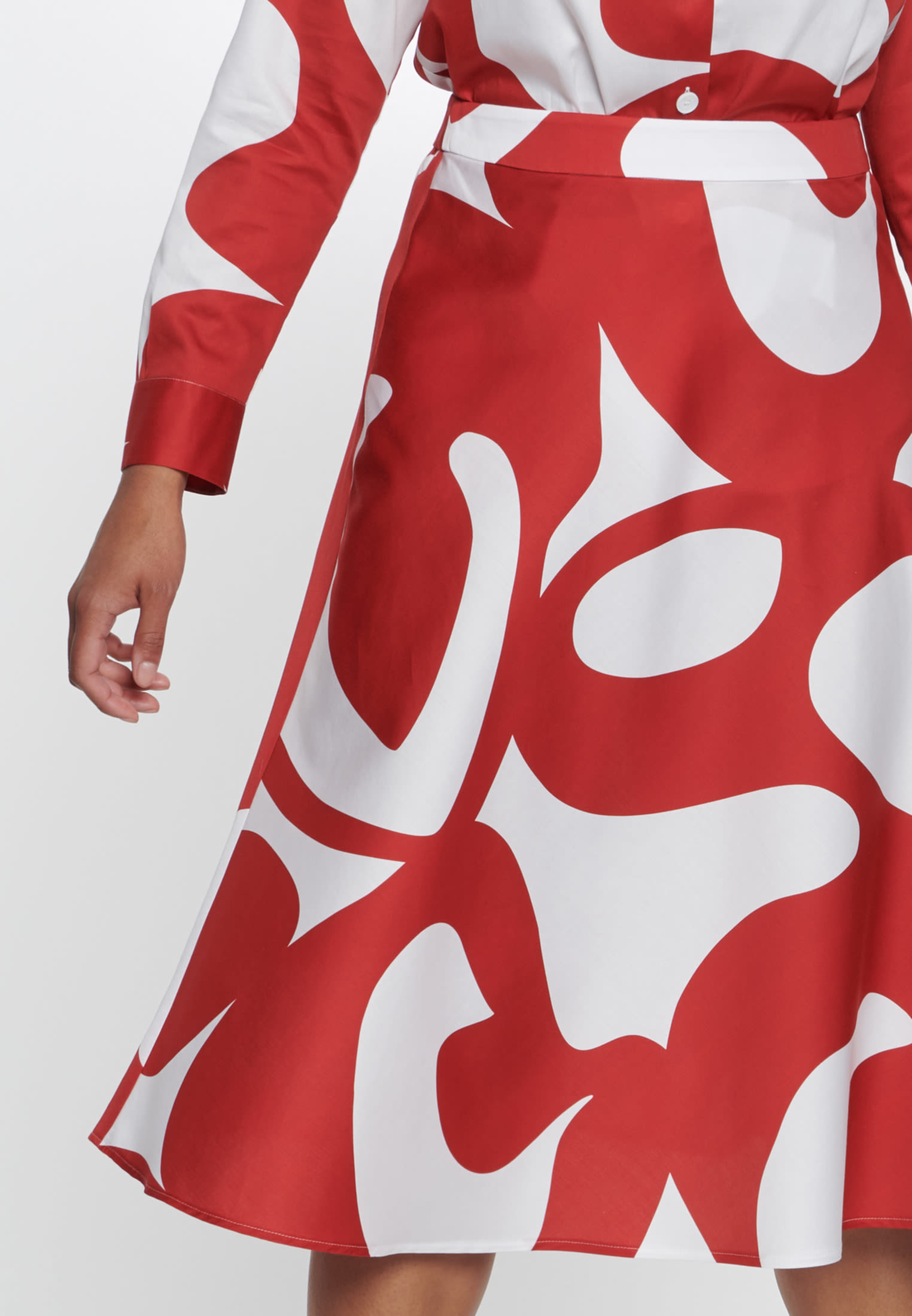 Satin Midi Rock aus 100% Baumwolle in Rot |  Seidensticker Onlineshop