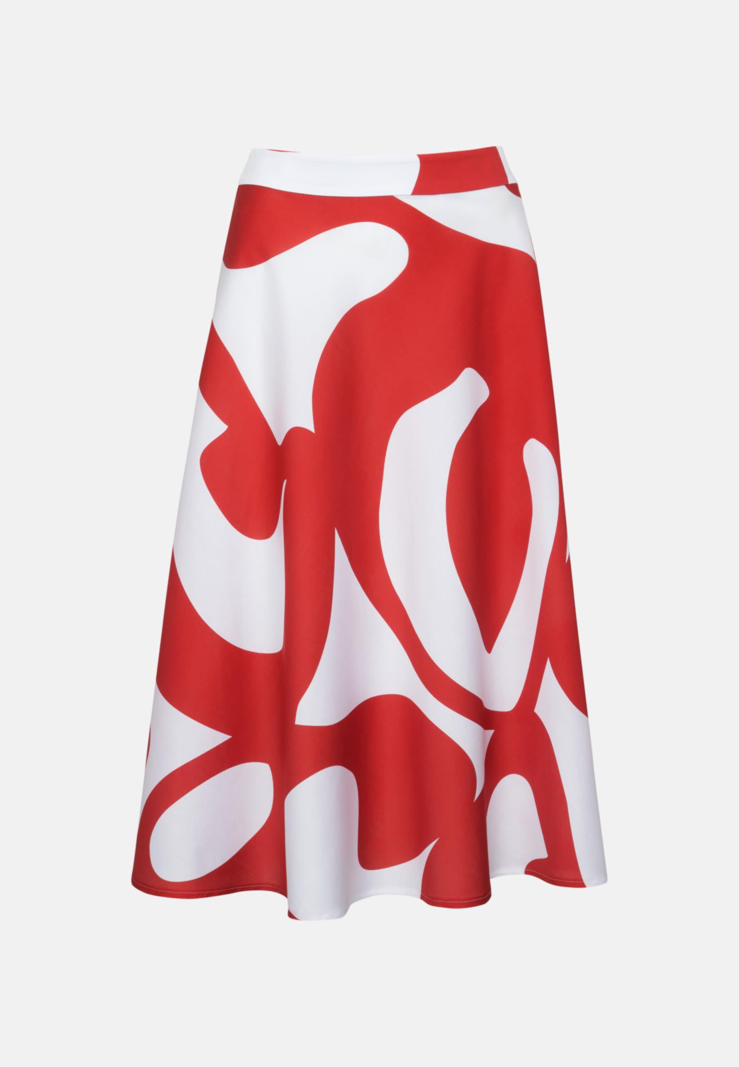 Satin Midi Rock aus 100% Baumwolle in Rot |  Seidensticker Onlineshop