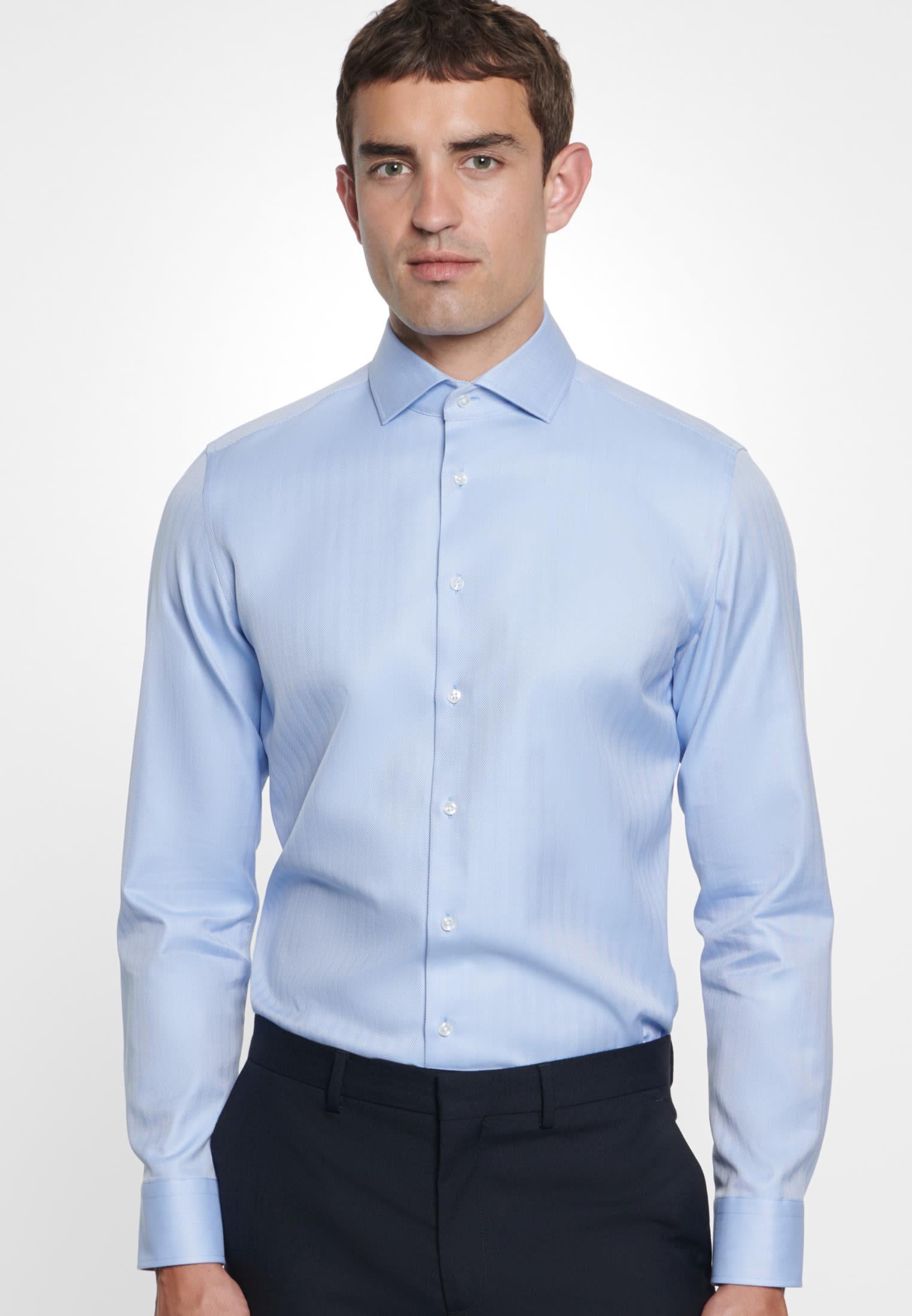 Bügelleichtes Fischgrat Business Hemd in Slim mit Kentkragen in Hellblau |  Seidensticker Onlineshop