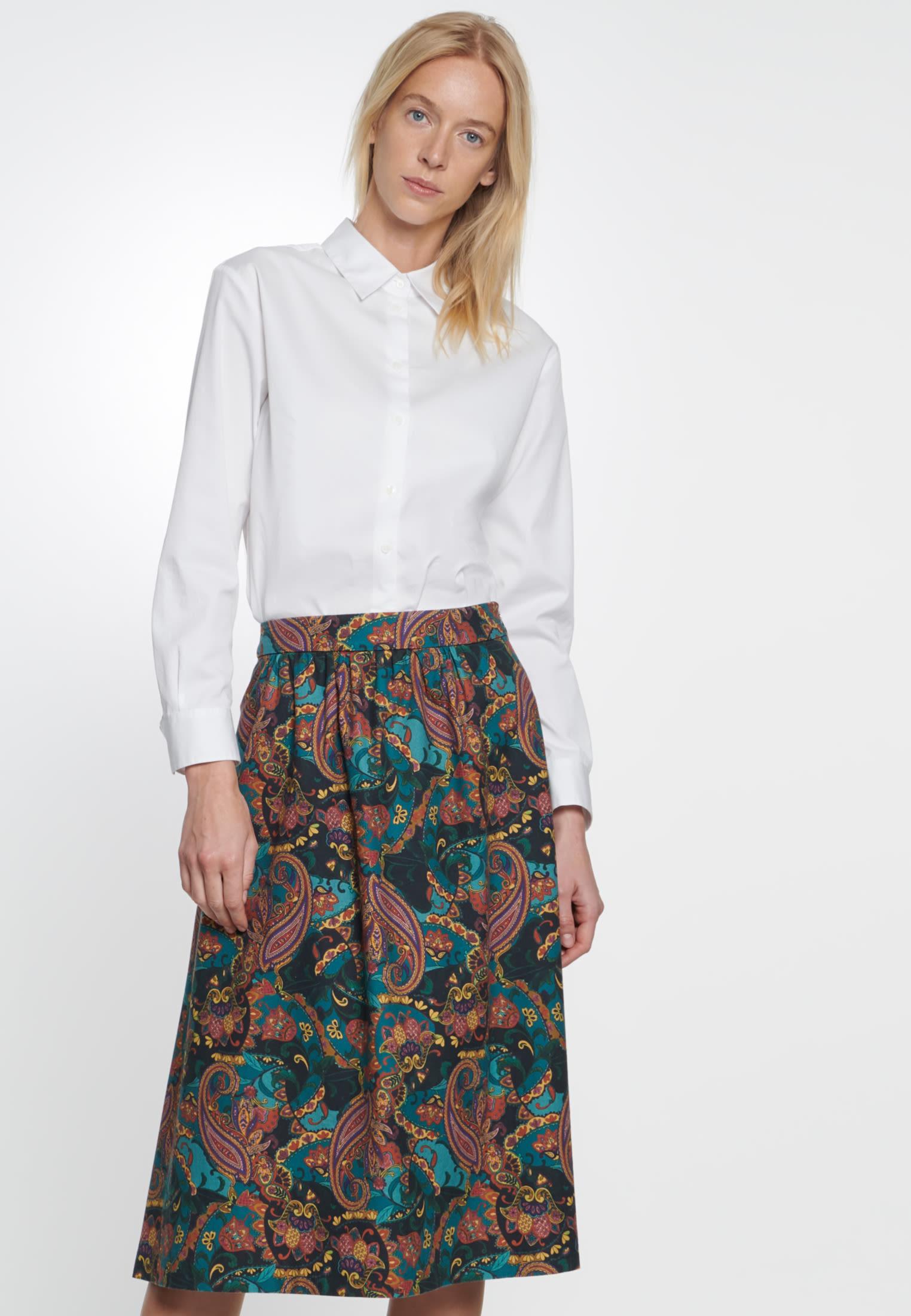 Twill Midi Skirt made of 100% Cotton in Orange |  Seidensticker Onlineshop