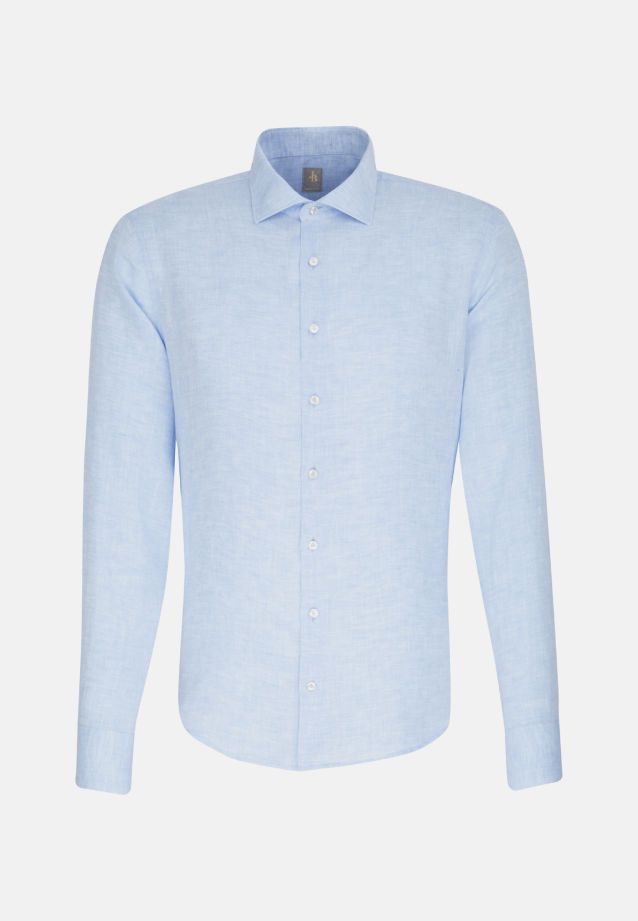 Leinen Smart Casual Hemd in Perfect Fit mit Kentkragen in Hellblau |  Jacques Britt Onlineshop