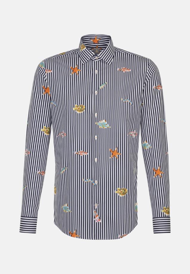 Popeline Business Hemd in Custom Fit mit Kentkragen in Dunkelblau    Jacques Britt Onlineshop