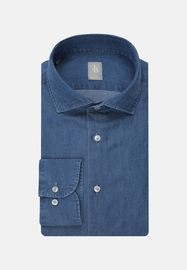 Denim Smart Casual Hemd in Perfect Fit mit Haifischkragen in Mittelblau |  Jacques Britt Onlineshop