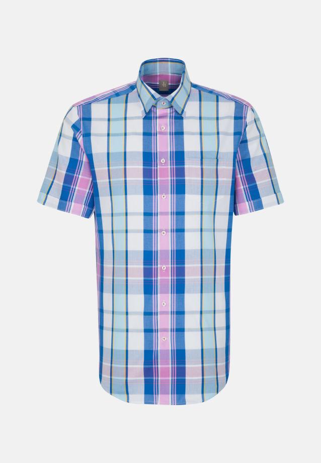 Kurzarm Struktur Business Hemd in Custom Fit mit Under-Button-Down-Kragen in Mittelblau |  Jacques Britt Onlineshop