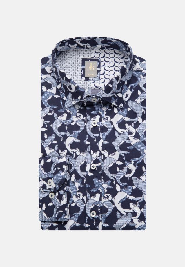 Popeline Business Hemd in Slim Fit mit Kentkragen in Dunkelblau    Jacques Britt Onlineshop
