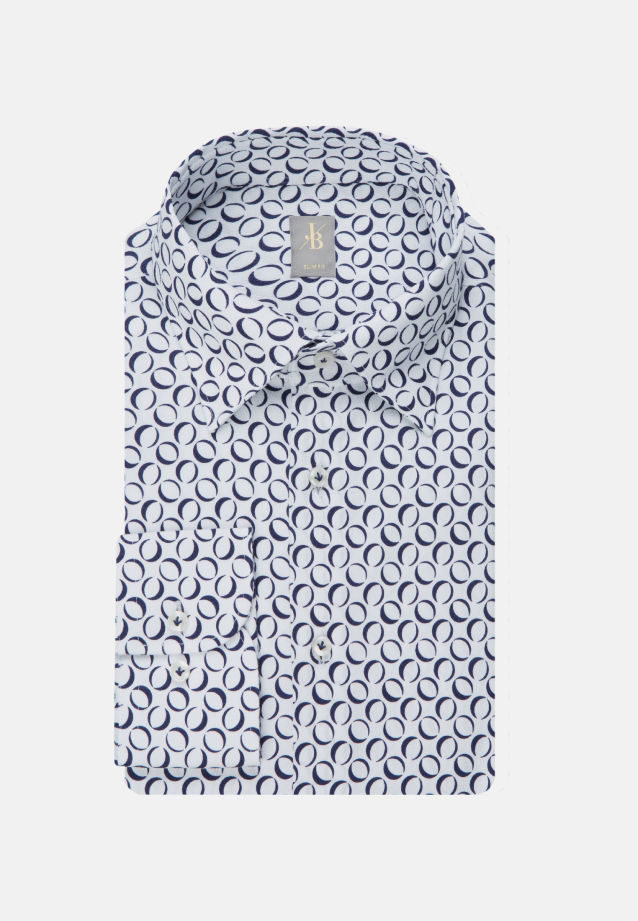 Popeline Business Hemd in Slim Fit mit Under-Button-Down-Kragen in Dunkelblau    Jacques Britt Onlineshop