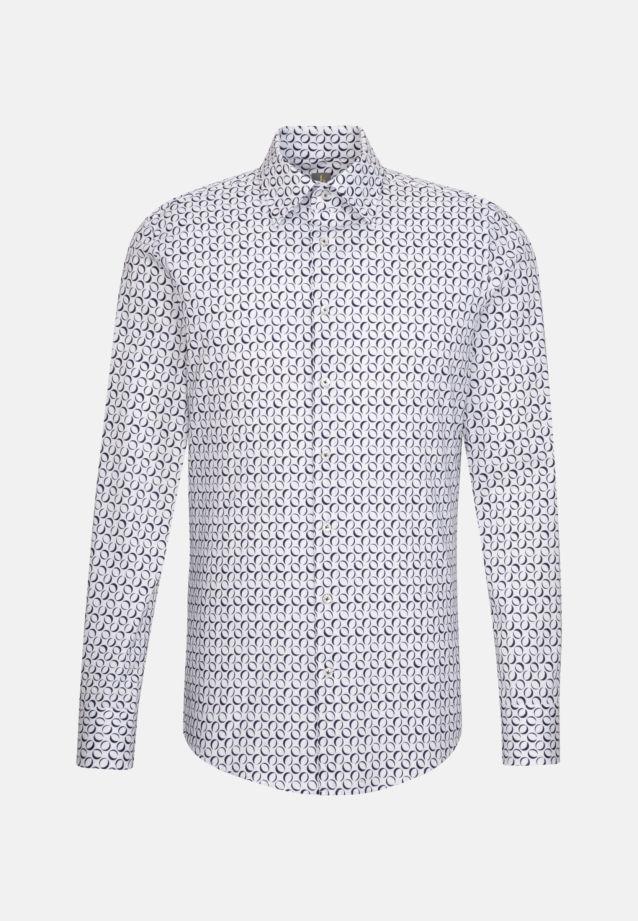 Popeline Business Hemd in Custom Fit mit Under-Button-Down-Kragen in Dunkelblau |  Jacques Britt Onlineshop