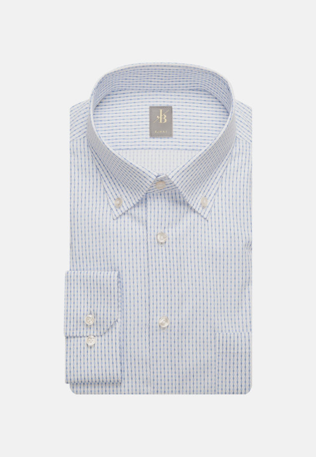 Popeline Business Hemd in Slim Fit mit Button-Down-Kragen in Hellblau |  Jacques Britt Onlineshop