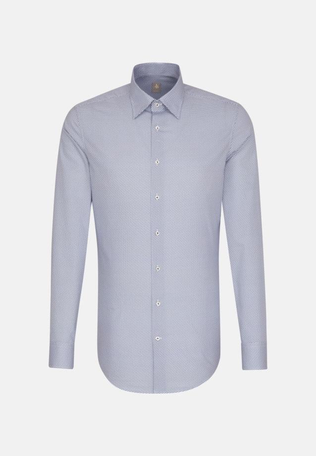 Satin Business Hemd in Slim Fit mit Under-Button-Down-Kragen und extra langem Arm in Mittelblau |  Jacques Britt Onlineshop