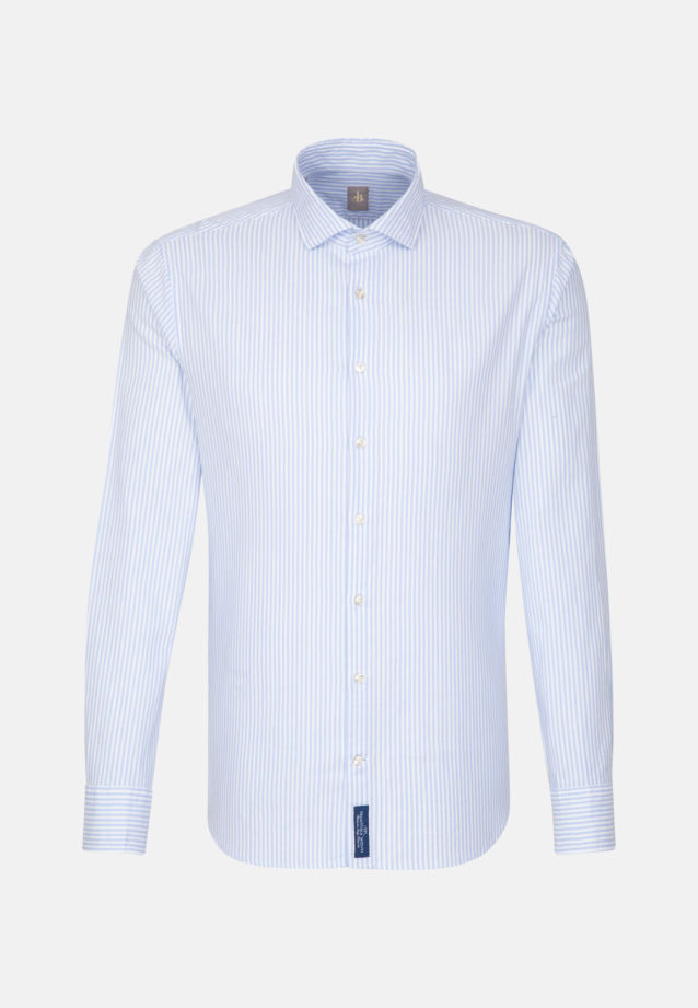 Oxford Smart Casual Hemd in Perfect Fit mit Haifischkragen in Mittelblau |  Jacques Britt Onlineshop