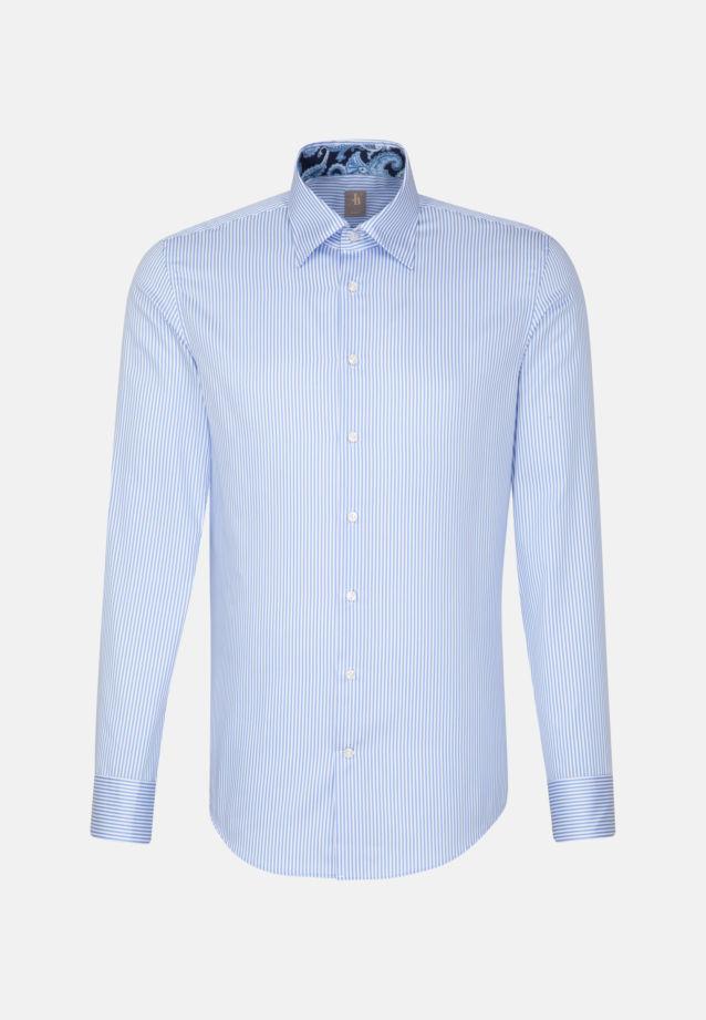 Satin Business Hemd in Slim Fit mit Under-Button-Down-Kragen in Hellblau |  Jacques Britt Onlineshop