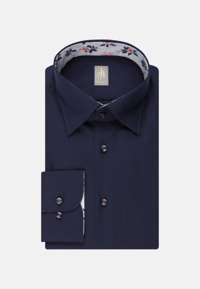 Twill Business Hemd in Custom Fit mit Under-Button-Down-Kragen in Dunkelblau |  Jacques Britt Onlineshop