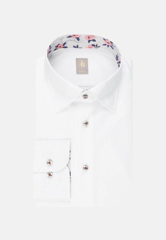 Twill Business Hemd in Slim Fit mit Under-Button-Down-Kragen in Weiß    Jacques Britt Onlineshop