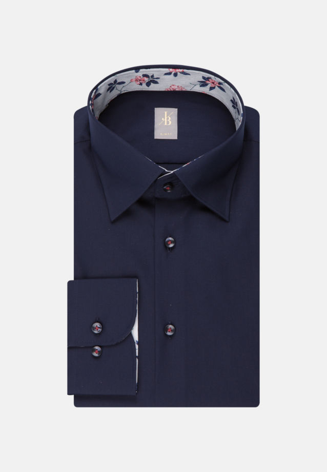 Twill Business Hemd in Slim Fit mit Under-Button-Down-Kragen in Dunkelblau |  Jacques Britt Onlineshop