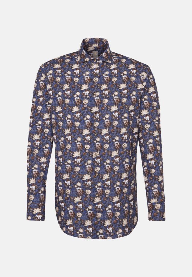 Popeline Business Hemd in Custom Fit mit Haifischkragen in Braun    Jacques Britt Onlineshop