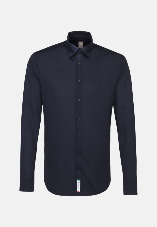 Jersey Smart Casual Hemd in Perfect Fit mit Under-Button-Down-Kragen in Dunkelblau |  Jacques Britt Onlineshop