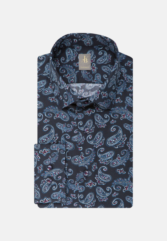 Flanell Business Hemd in Custom Fit mit Kentkragen in Dunkelblau    Jacques Britt Onlineshop