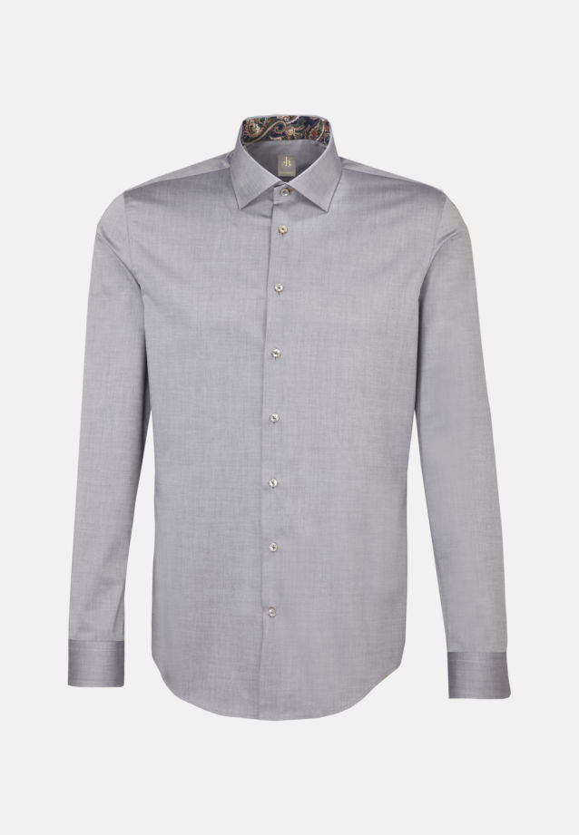 Twill Business Hemd in Custom Fit mit Kentkragen in Grau |  Jacques Britt Onlineshop
