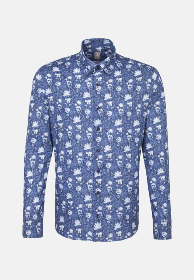 Popeline Smart Casual Hemd in Perfect Fit mit Under-Button-Down-Kragen in Mittelblau |  Jacques Britt Onlineshop