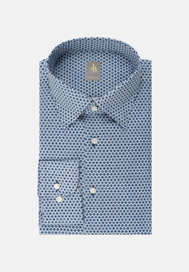 Struktur Business Hemd in Custom Fit mit Under-Button-Down-Kragen in Mittelblau |  Jacques Britt Onlineshop