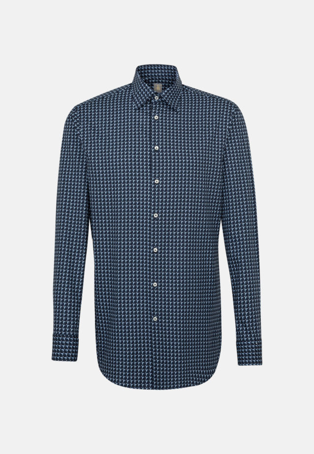 Popeline Business Hemd in Custom Fit mit Under-Button-Down-Kragen und extra langem Arm in Mittelblau |  Jacques Britt Onlineshop