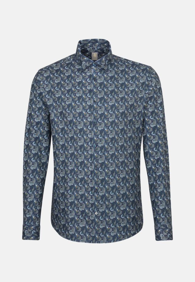 Flanell Smart Casual Hemd in Perfect Fit mit Kentkragen in Dunkelblau |  Jacques Britt Onlineshop