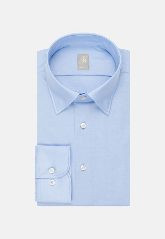 Jersey Smart Casual Hemd in Perfect Fit mit Under-Button-Down-Kragen in Hellblau |  Jacques Britt Onlineshop