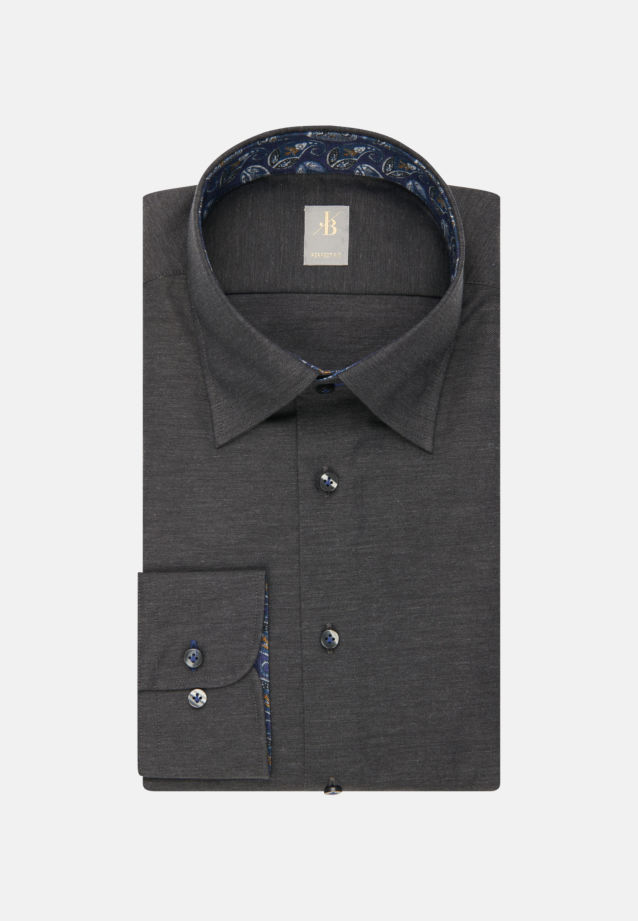 Melange Garne Smart Casual Hemd in Perfect Fit mit Under-Button-Down-Kragen in Grau |  Jacques Britt Onlineshop