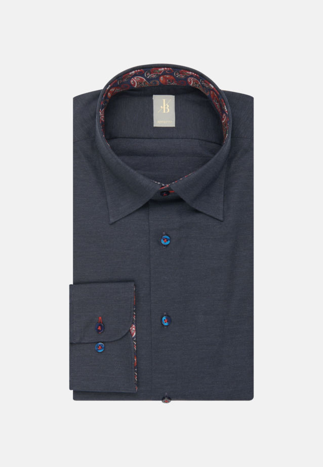 Melange Garne Smart Casual Hemd in Perfect Fit mit Under-Button-Down-Kragen in Dunkelblau |  Jacques Britt Onlineshop