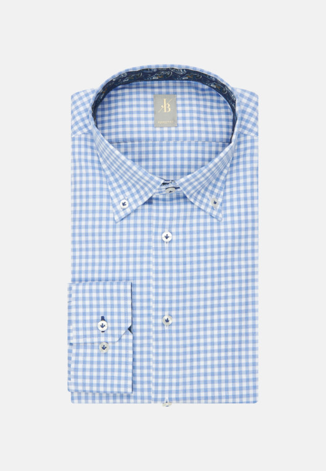 Melange Garne Smart Casual Hemd in Perfect Fit mit Button-Down-Kragen in Hellblau |  Jacques Britt Onlineshop