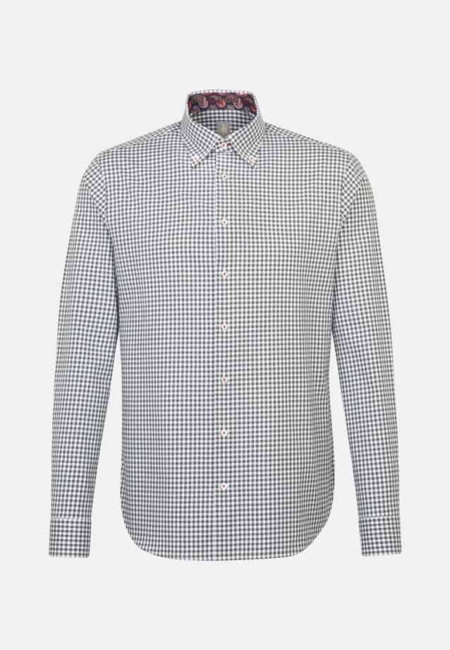 Melange Garne Smart Casual Hemd in Perfect Fit mit Button-Down-Kragen in Grau |  Jacques Britt Onlineshop