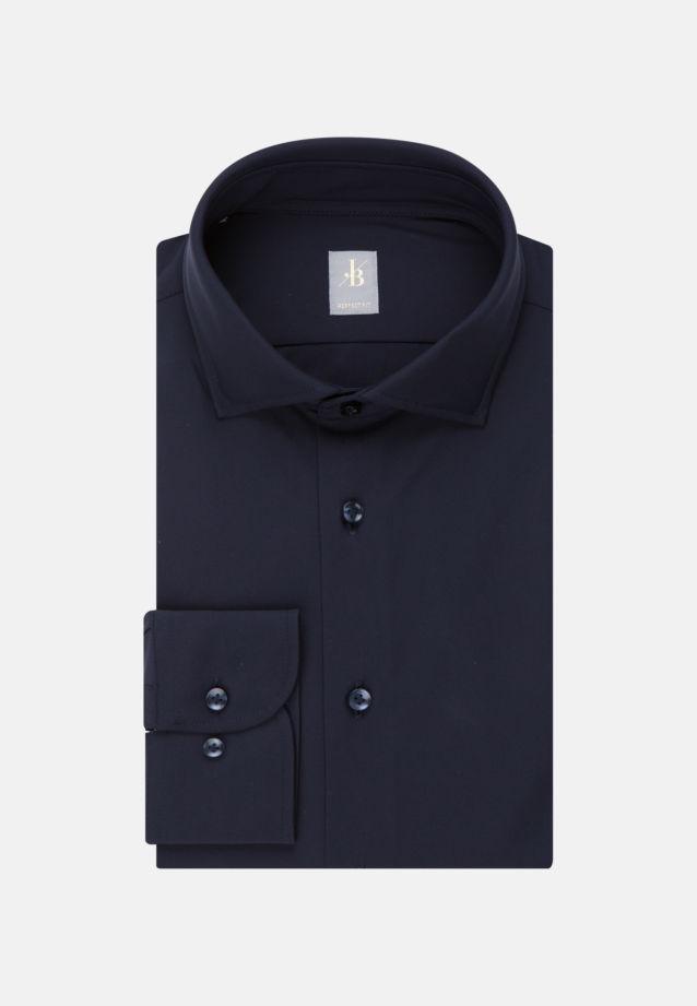 Jersey Smart Casual Hemd in Perfect Fit mit Haifischkragen in Dunkelblau    Jacques Britt Onlineshop