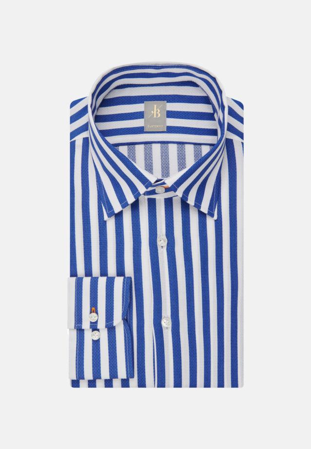 Struktur Business Hemd in Custom Fit mit Under-Button-Down-Kragen in Mittelblau |  Jacques Britt Onlineshop